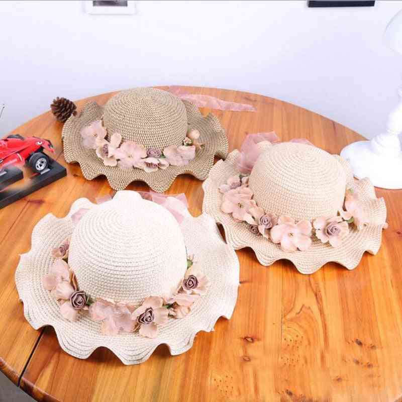 Summer Sunbonnet Straw Hats With Flowers