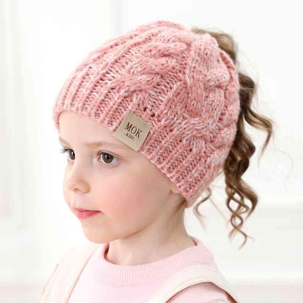 Girls Letter Knit Autumn Winter Warm Cute Ponytail Beanies Hat