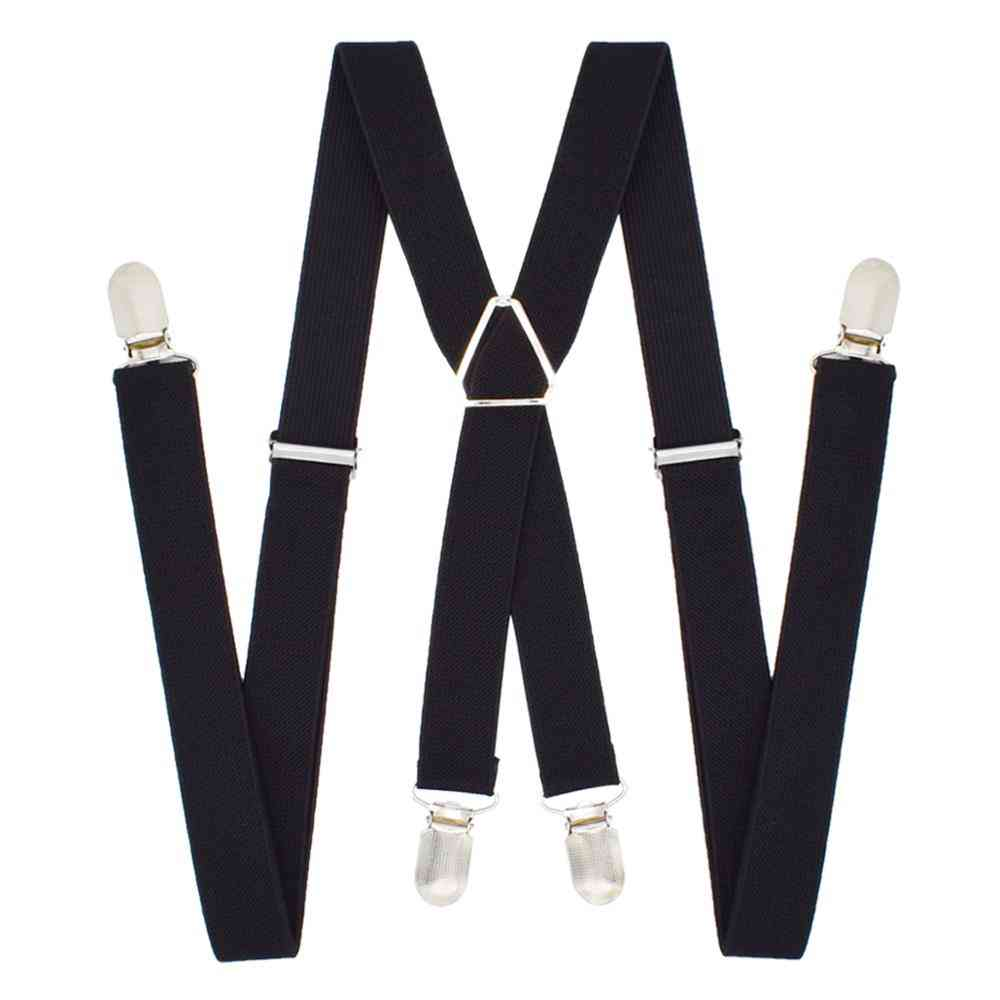 1-inch Suspenders Polyester Elastic Adult Belt 4 Clips