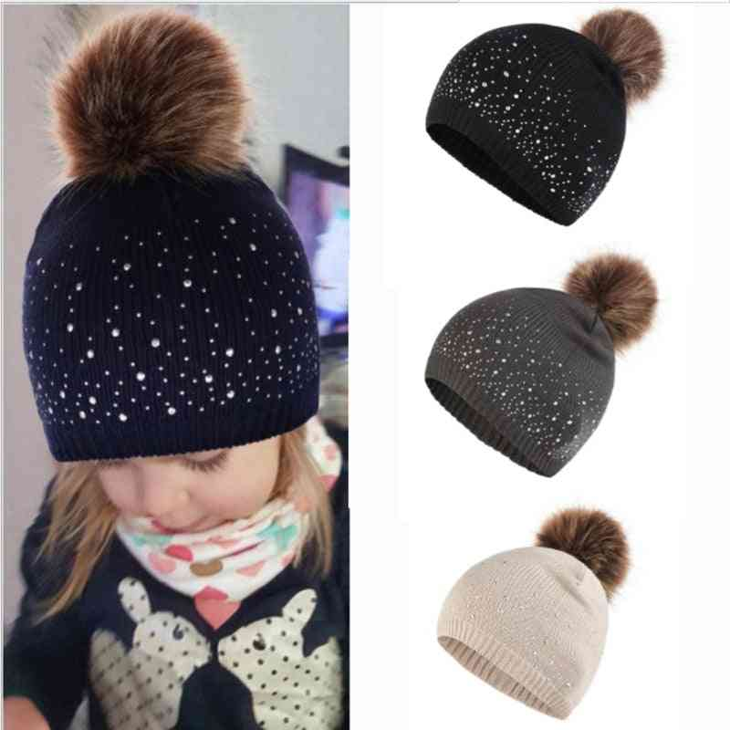 Rhinestone Solid Color Baby Pompom Hat, Keep Warm Casual Tide Winter Cap