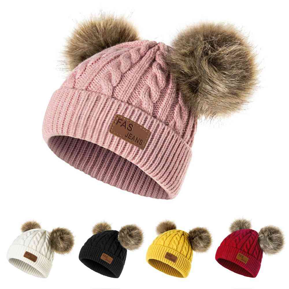 Winter Hat, Knitted Beanies Thick Baby Cute Hair Ball Cap