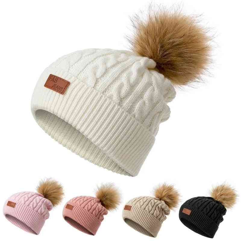 Winter Pompoms, Knitted Warm Hats For Kids