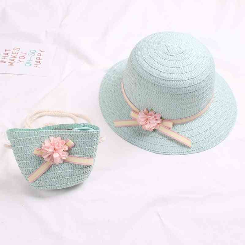 Summer Baby Flower Breathable Hat With Handbag