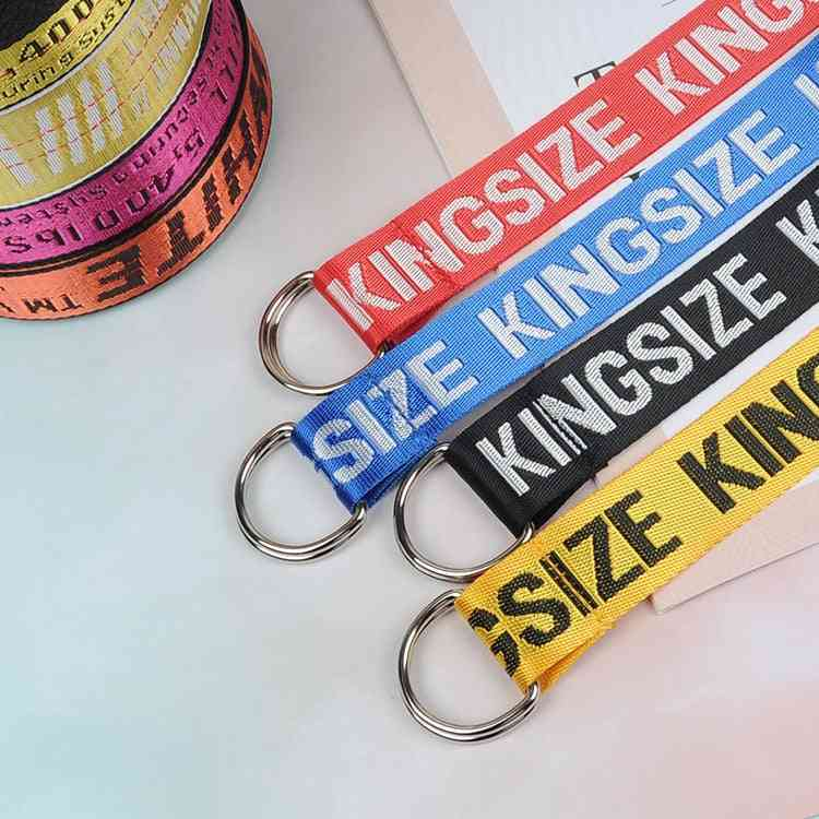 Unisex Canvas Printing Letter D Ring Double Buckle Belt