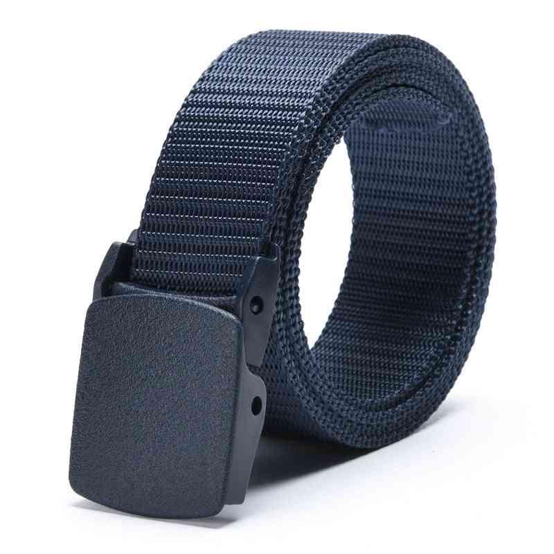 Adjustable Nylon Canvas Waist Belt With Metal Plastic Buckle Male Casual Fabric Belt