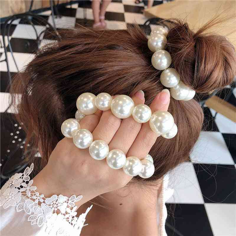 Woman Big Pearl Hair Ties Fashion Style Hairband Ponytail Holders Rubber Band