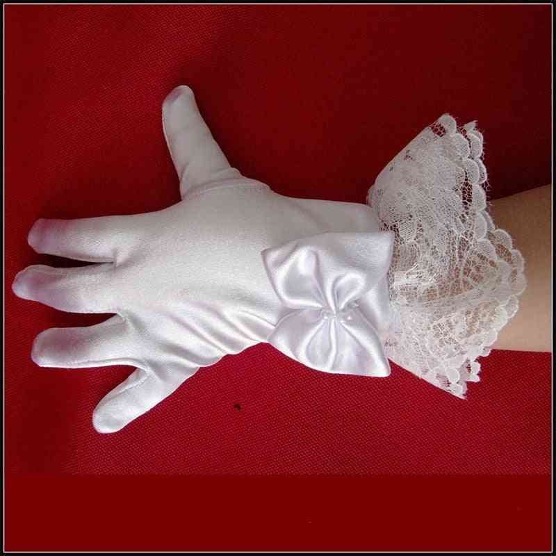 1pair White Lace Satin Full Finger Short Gloves For