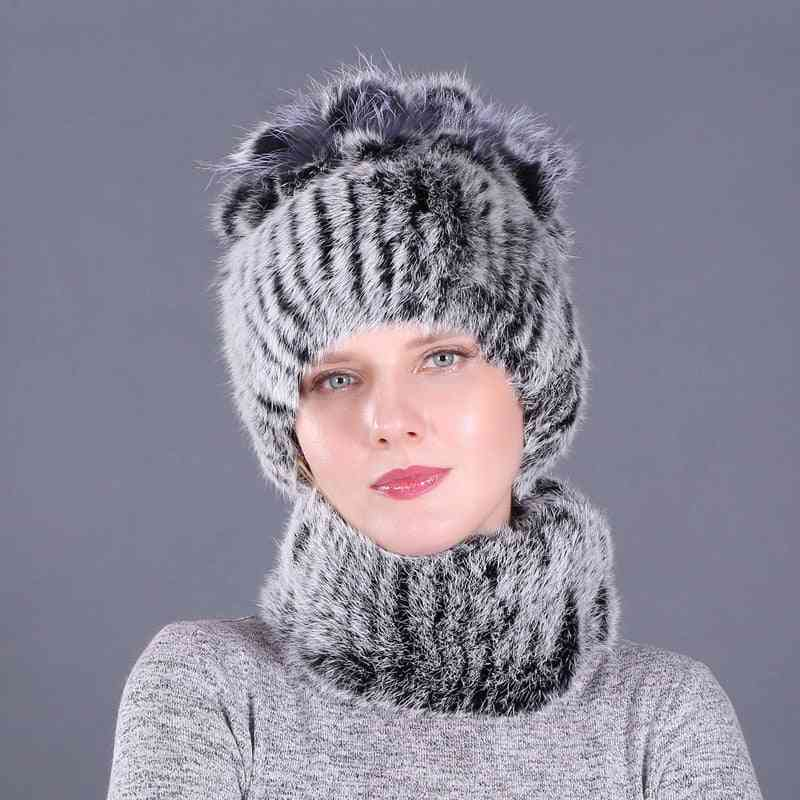 Genuine Faux Fur Knitted Beanies And Collars