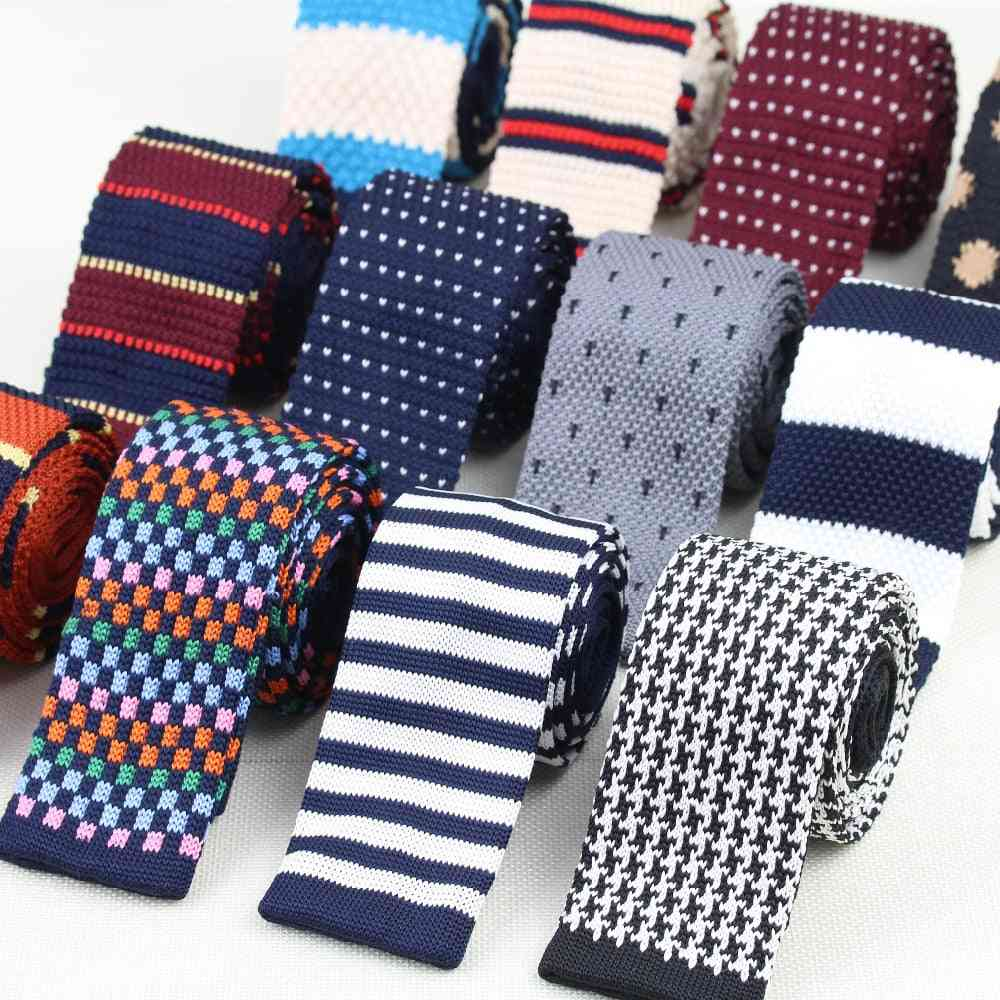 Men's Knitted Striped Skinny Narrow Neck Ties