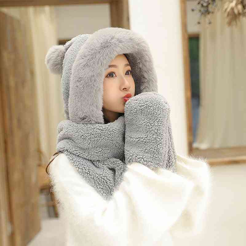 Plush Thick Double-layer Warm Hooded Neck Scarf And Gloves