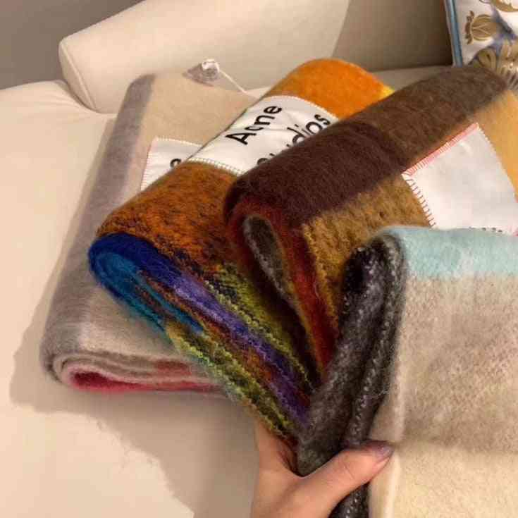 Double Sided, Lattice Fringed-rainbow Cashmere Wool Shawl