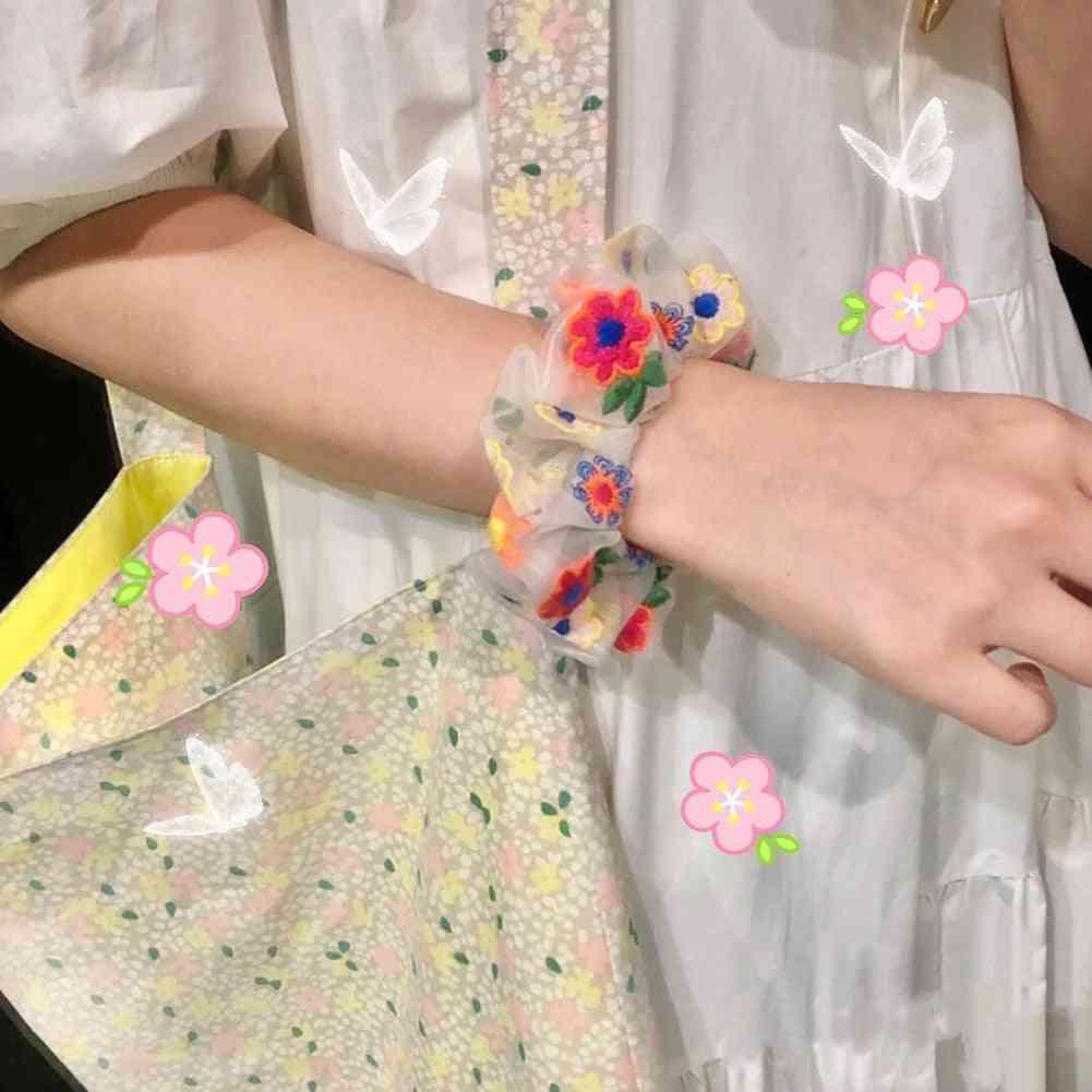 Women Hair Cute Daisy Elastic Bands, Mesh Embroidery Floral Headbands