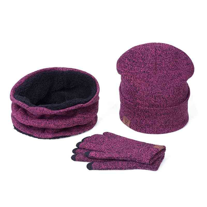 Casual Winter Thicken Warm Hat Scarf And Glove Sets For Women Men