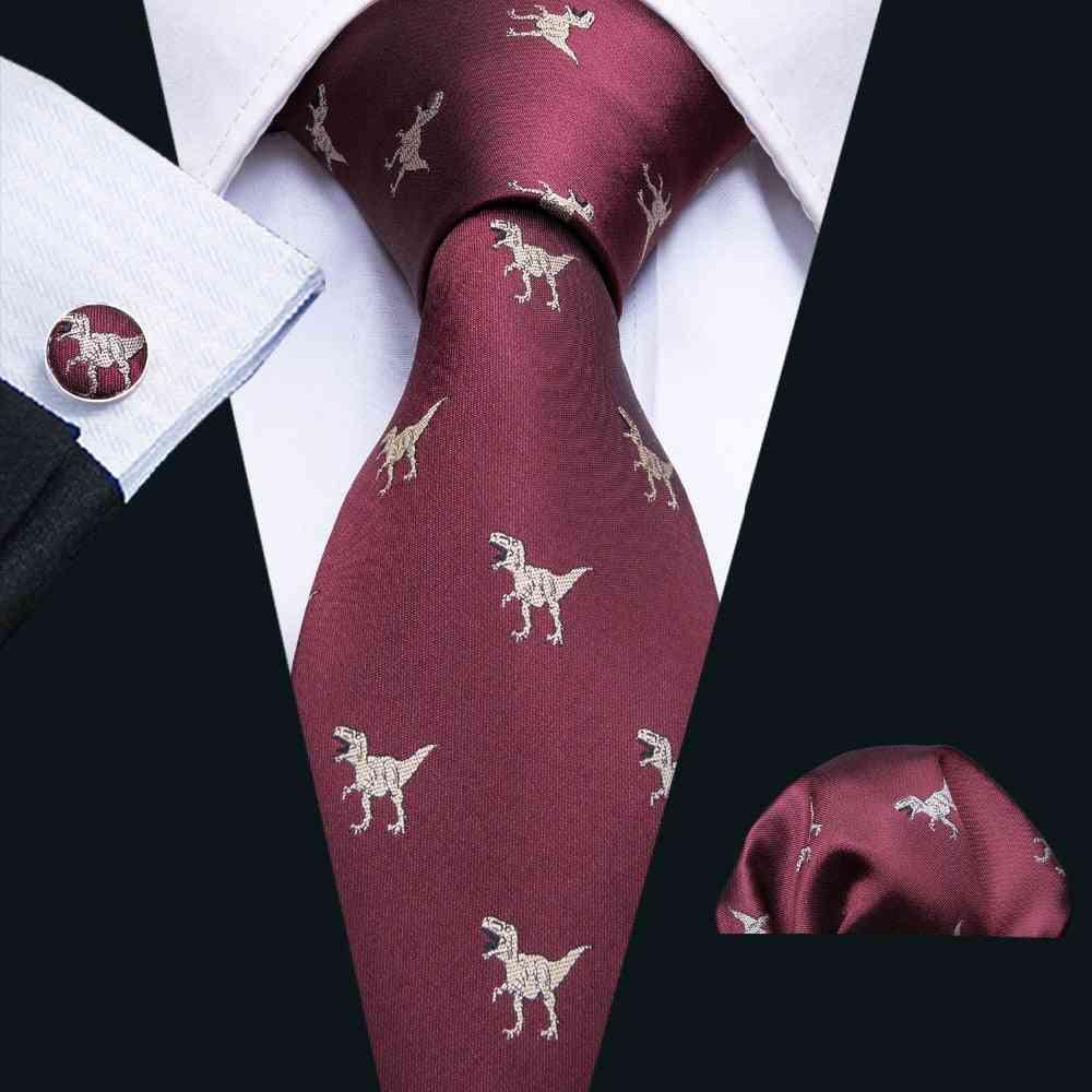 1pc 8.5cm Dinosaur Pattern Red Wedding  - Silk Neck Ties