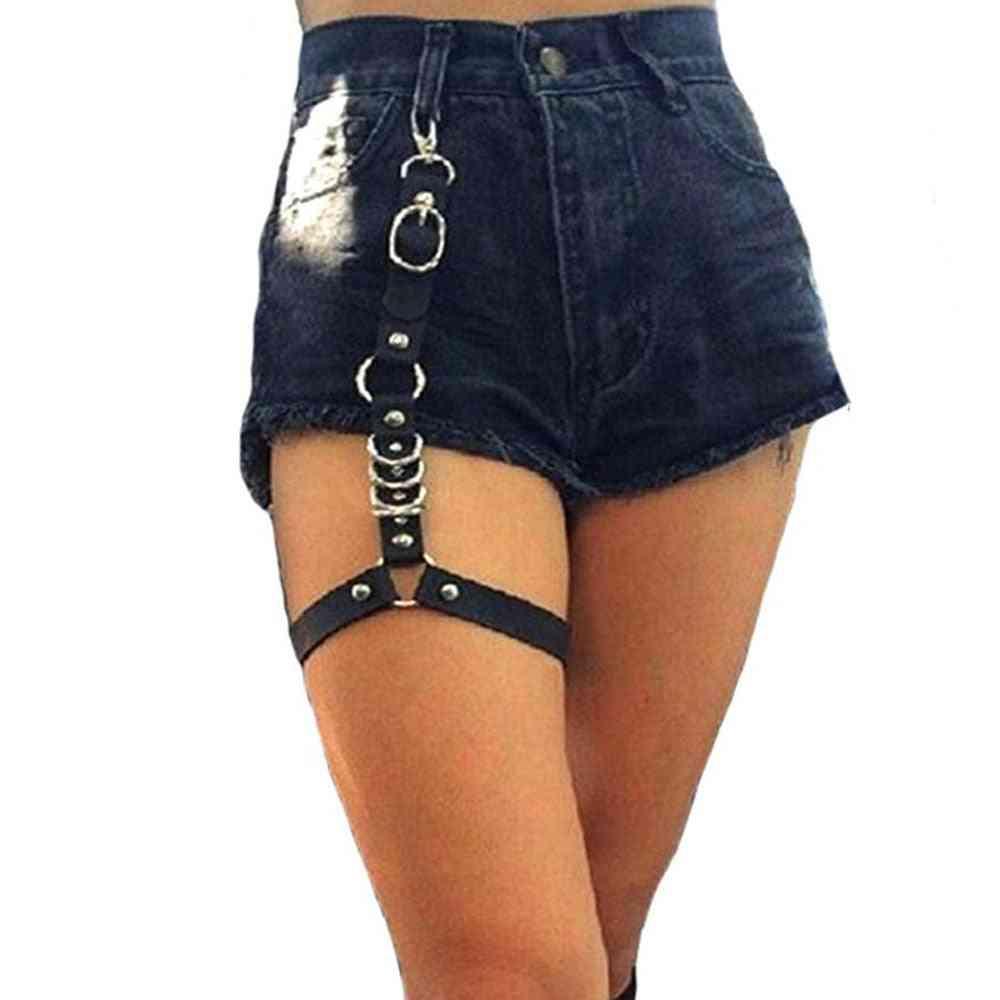 Single Strap Clip Leather Punk Suspender - Hook Adjustable Leg Ring