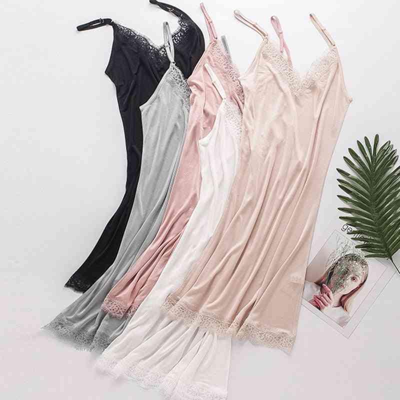 Women Full Slips Natural Lace Sleeping Dress