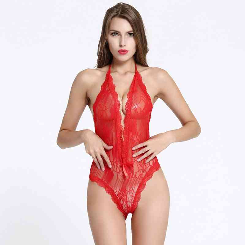 Sexy Full Slips Women Hollow Out Lace Sets