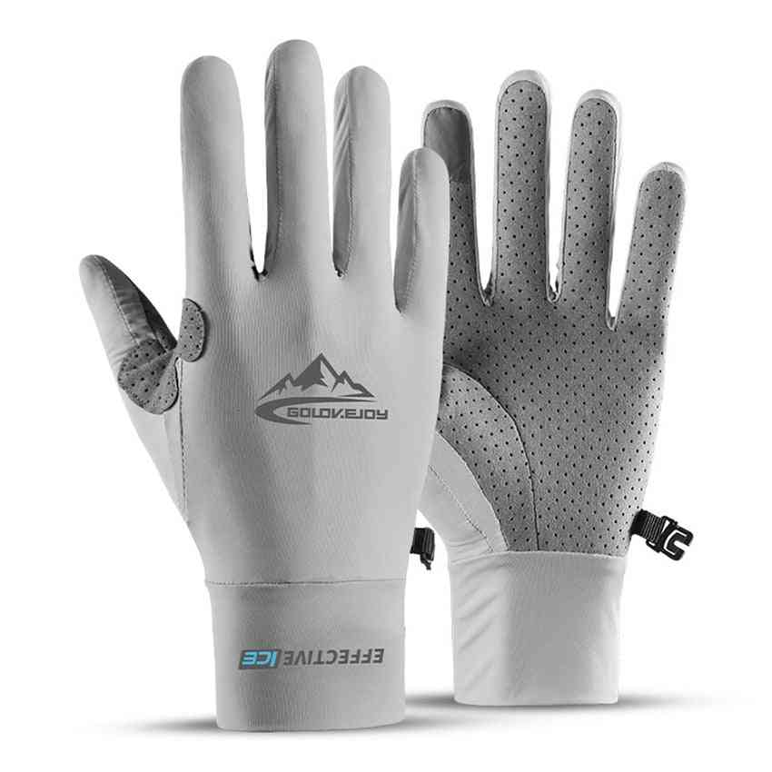 Summer Men Touch Screen Anti-slip Riding Fishing Breathable Sun-proof Gloves