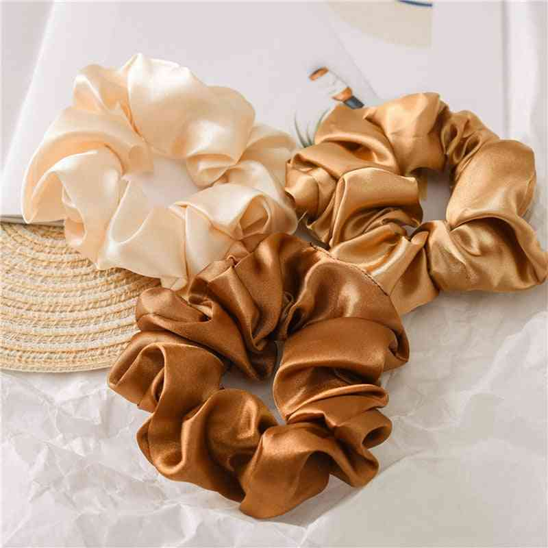 Satin Silk Solid Color Scrunchies Elastic Hair Bands