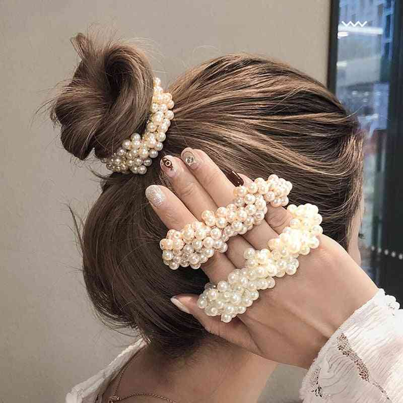 Woman Elegant Pearl Hair Ties, Beads Scrunchies, Rubber Bands, Ponytail Holder