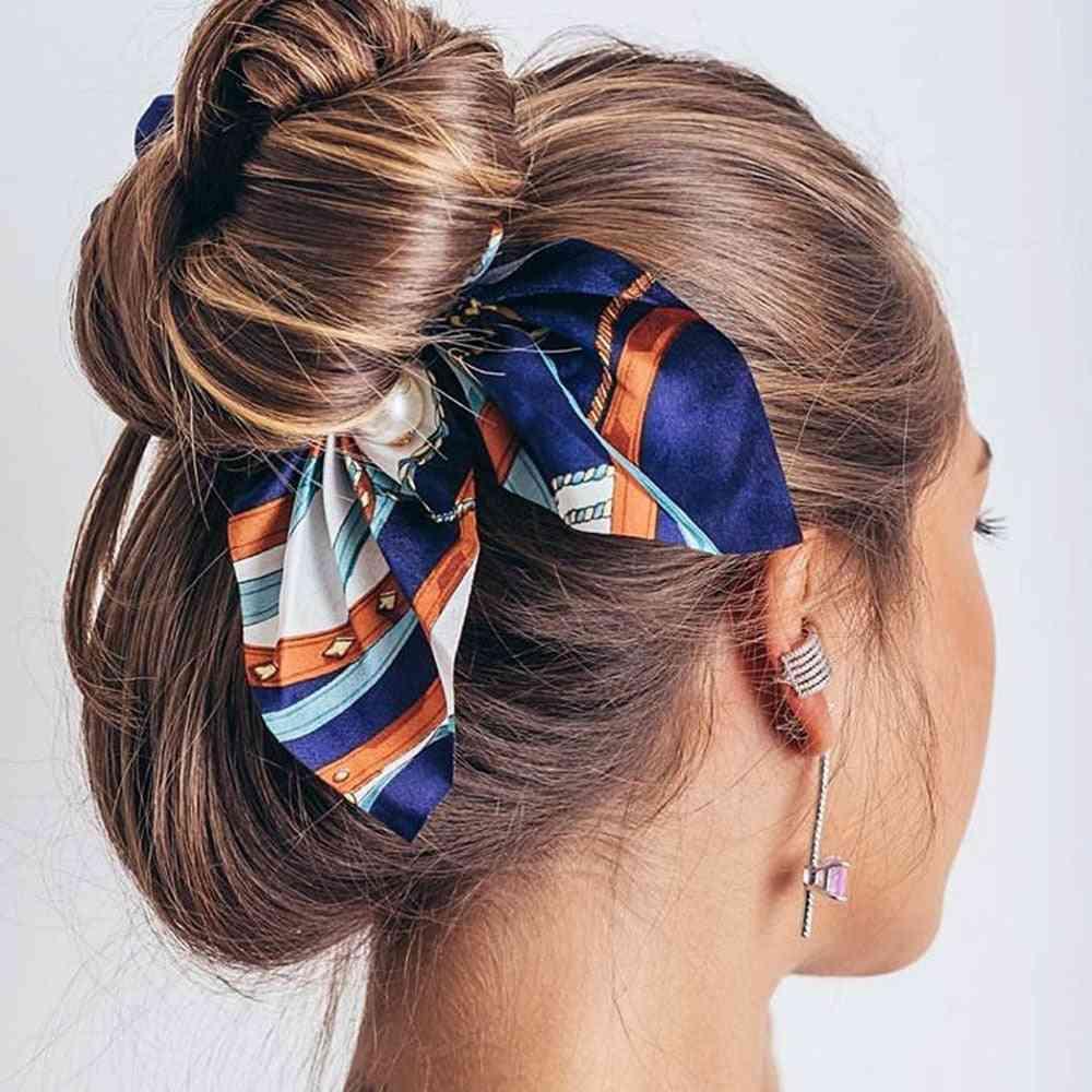 Chiffon Bowknot Design Silk Hair Scrunchies-women Ponytail Rubber Bands