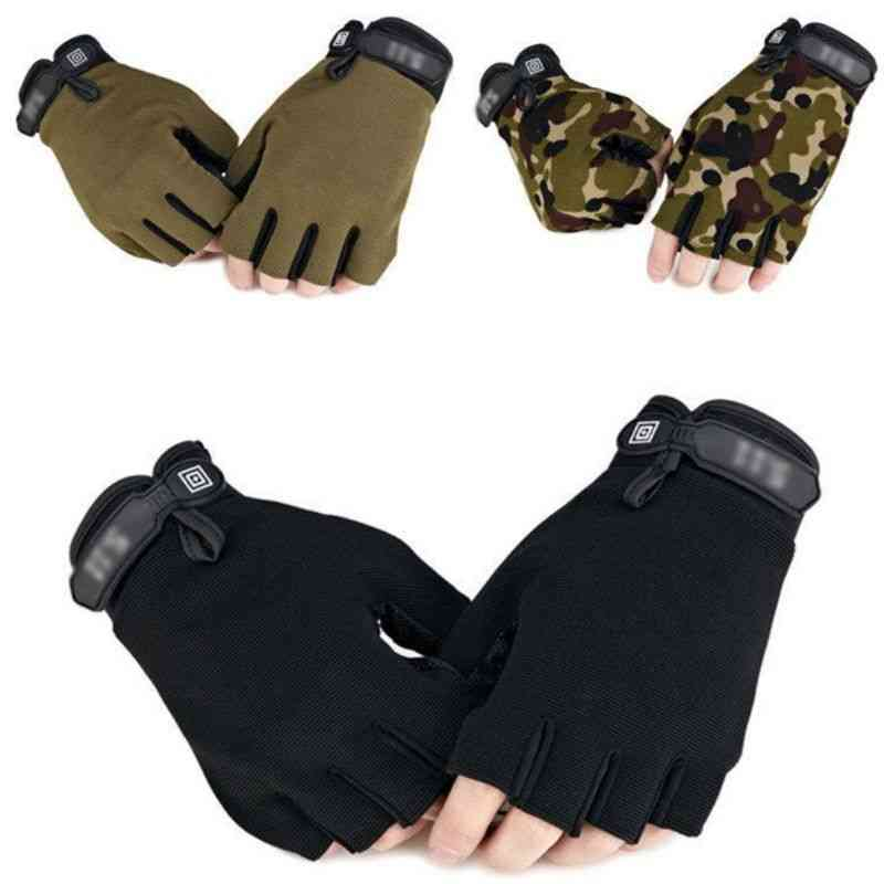 Men Camouflage Tactical Gloves For Outdoor Sport, Cycling, Half Finger Warmer