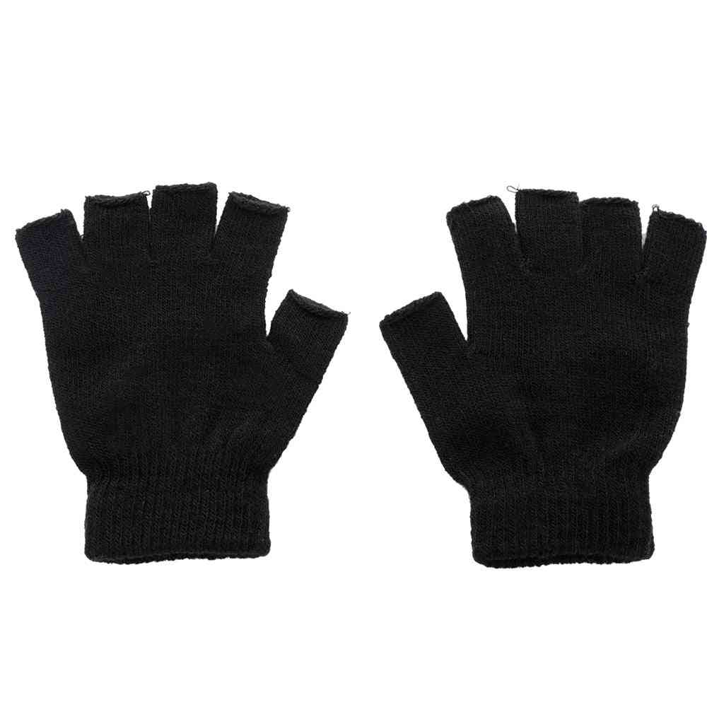 Knitted Fingerless Autumn/winter Outdoor Stretch Elastic Warm Half Finger Cycling Glove