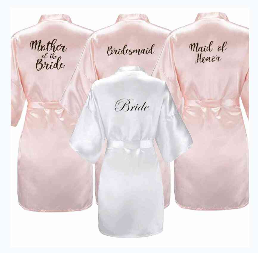 White Black Letters Mother Sister Of The Bridesmaid Robe