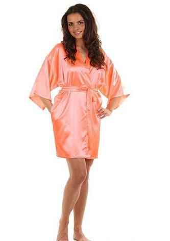 Sexy Satin Night Robe Lace Bathrobe