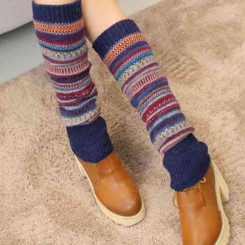 Striped Pattern, Winter Warm High Knee Socks