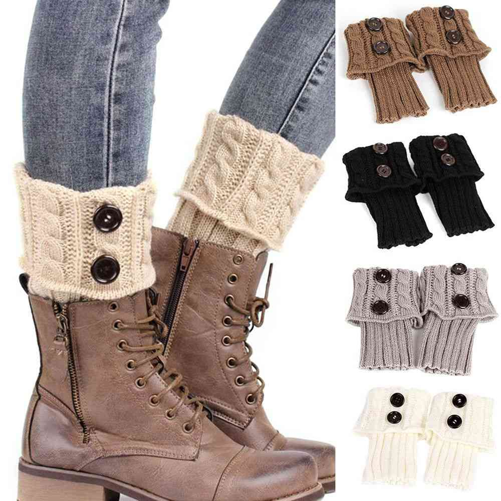 Women Autumn/winter Casual Leg Warmers, Button Crochet Knit Long Boot Socks