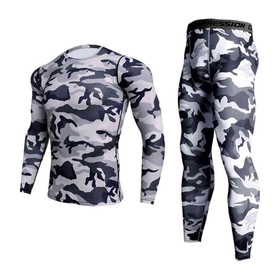 Men's Camouflage Winter Thermal Sports Compression Underwear Set