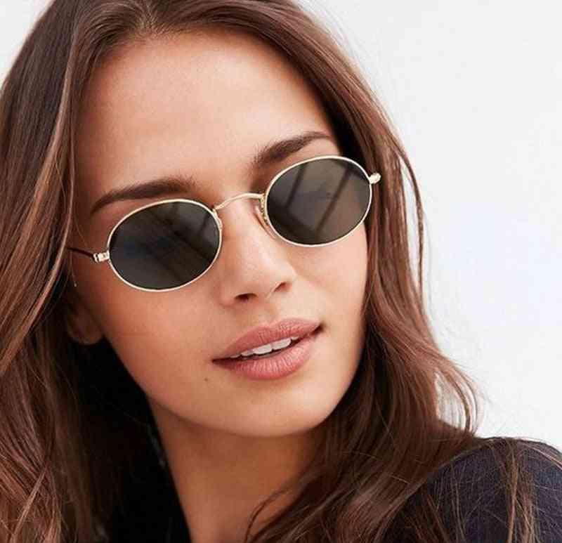 Women Small Gold Black Vintage Retro Sun Glasses