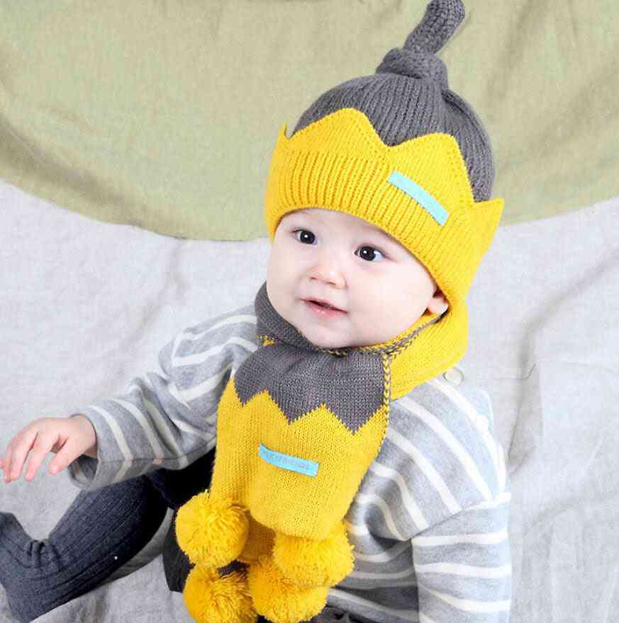 Winter Warm Hat Scarf Child Patchwork Set Baby Ear Protection Cap With Scarves