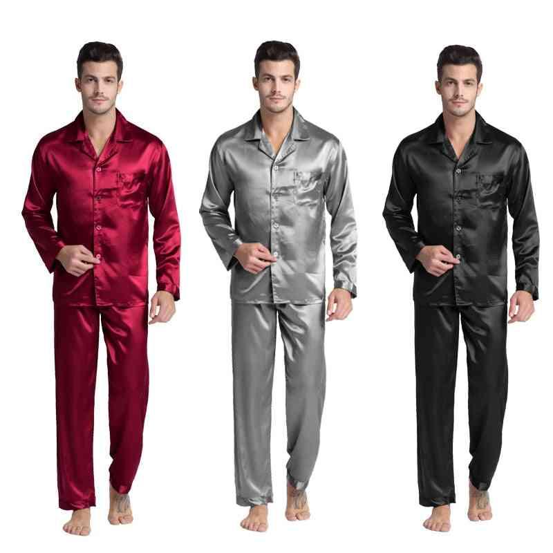 Satin Silk Pajama Set, Men Pajamas Silk Sleepwear Sexy Modern Style Soft Nightgown