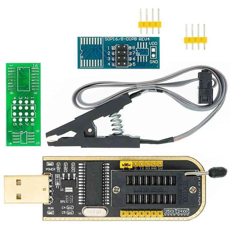 Usb Programmer Module + Soic8, Sop8 Test Clip For Eeprom 93cxx / 25cxx / 24cxx