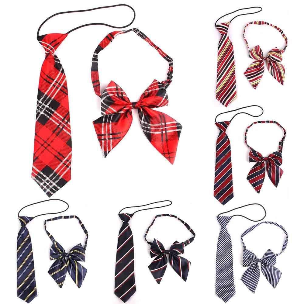 Rubber String Necktie Polyester Plaid Neck Tie For Suits Skinny Slim Men