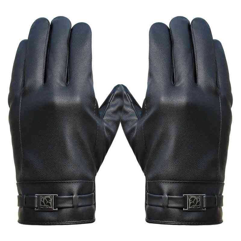 Washed Leather Touch Screen Warm Windproof Riding Plus Velvet Men's Winter Gloves