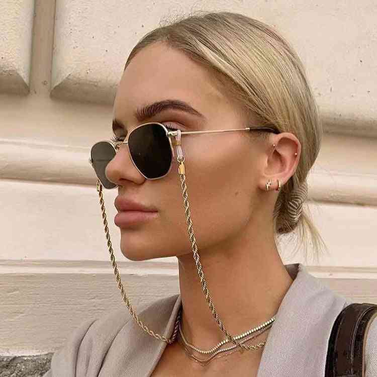 Fashion Reading Glasses Chain Women Metal Sunglasses