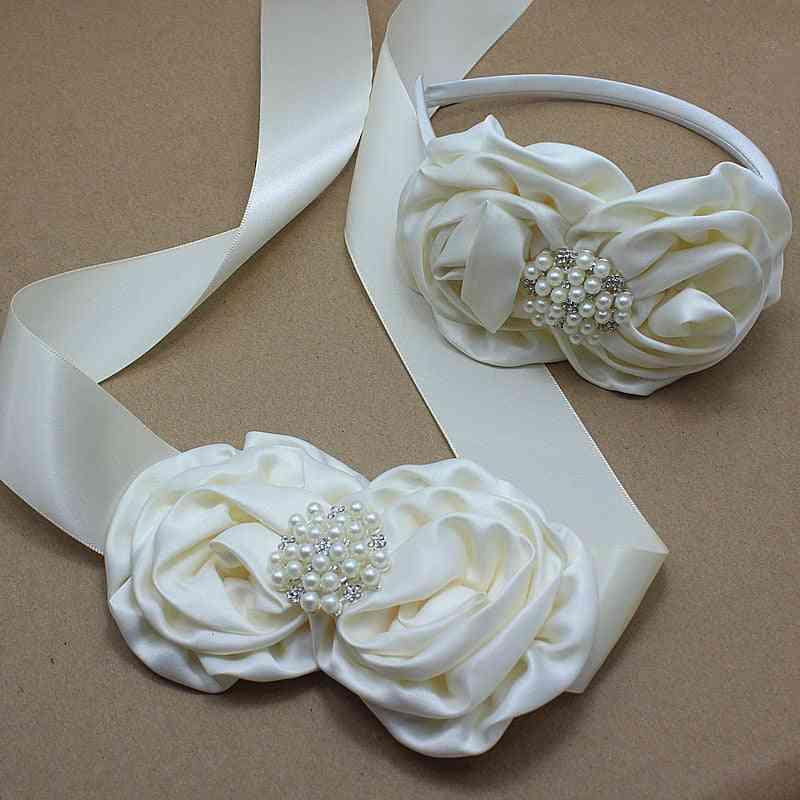 Ivory Satin Rose Flower Sash Headband With Pearl Wedding Bridal Rosette Belt