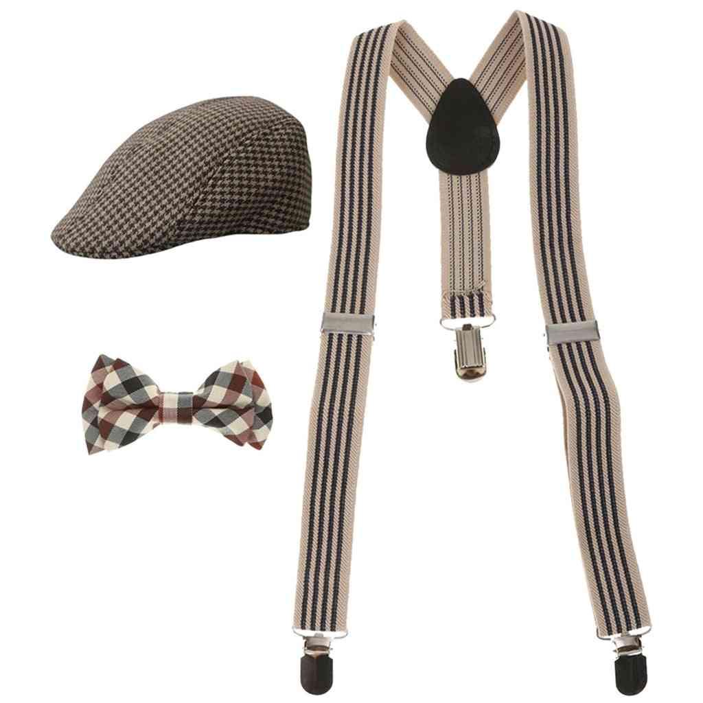 Stretchable Y-back Suspender, Bowtie And Beret Cap, Flat Hat Set