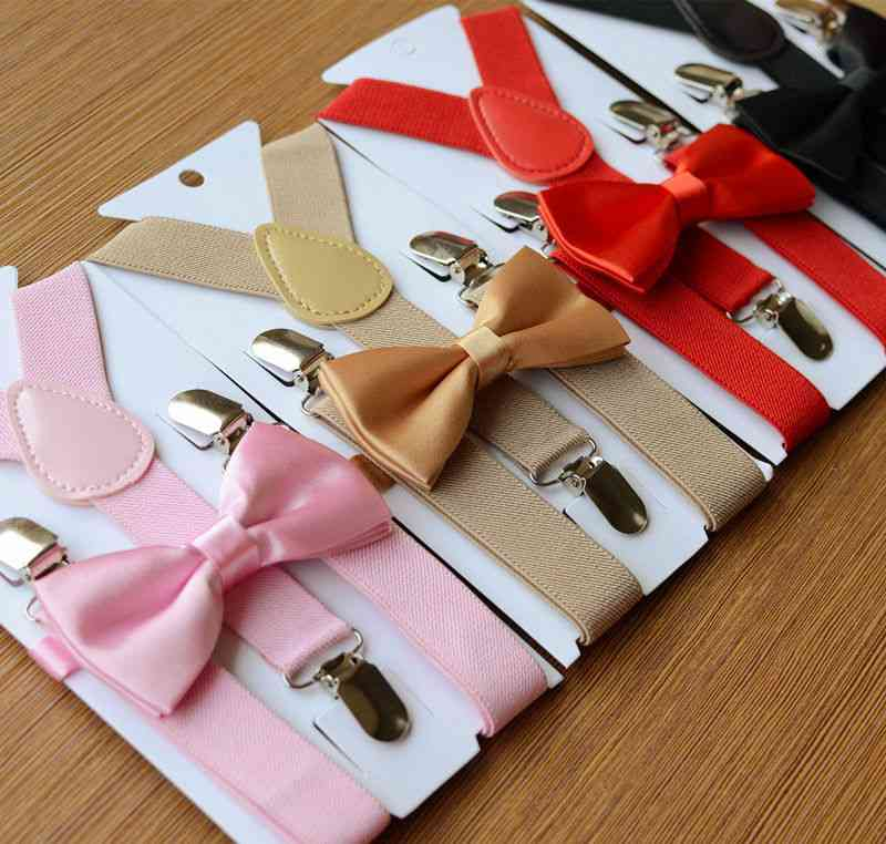 Adjustable And Elasticated Suspenders With Bowtie Set