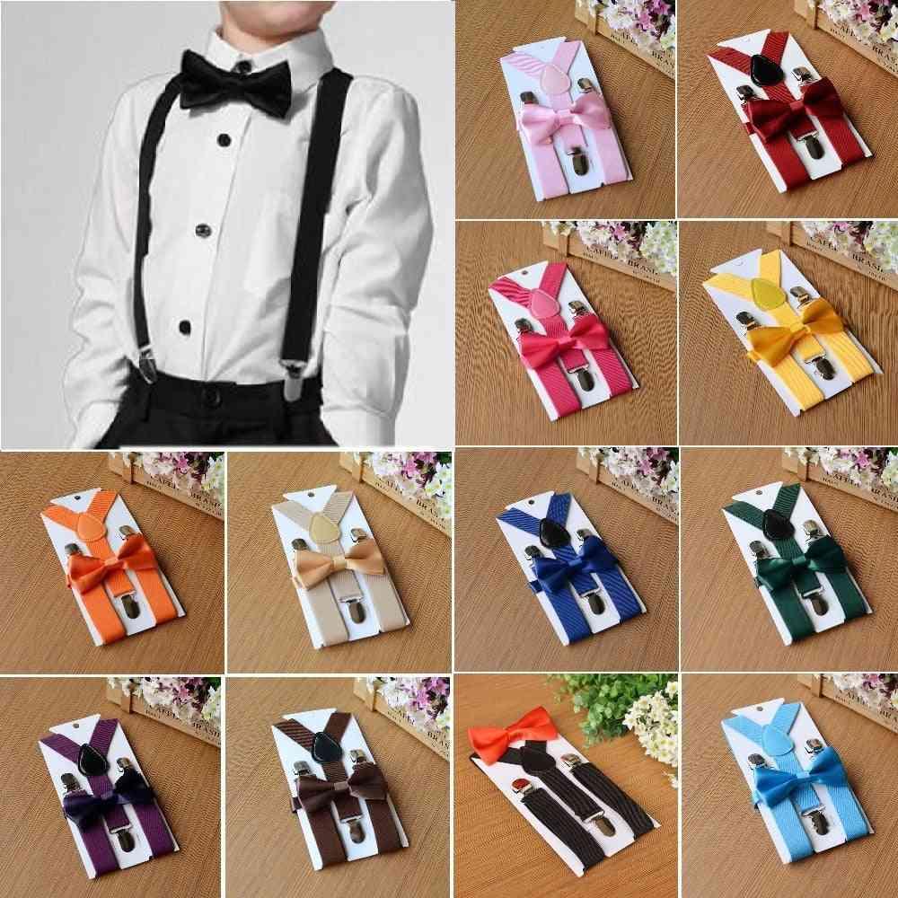 Matching Tuxedo Suit Kids Elastic Suspenders Bow Tie Set