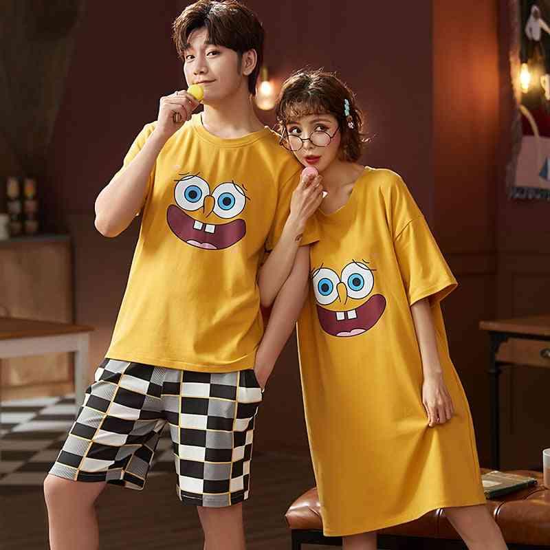 Couple Summer Pajama Set, Cotton T-shirt Shorts/men