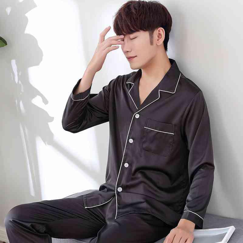 Men Nightwear Shirt Pants Sleep Pajamas Sets