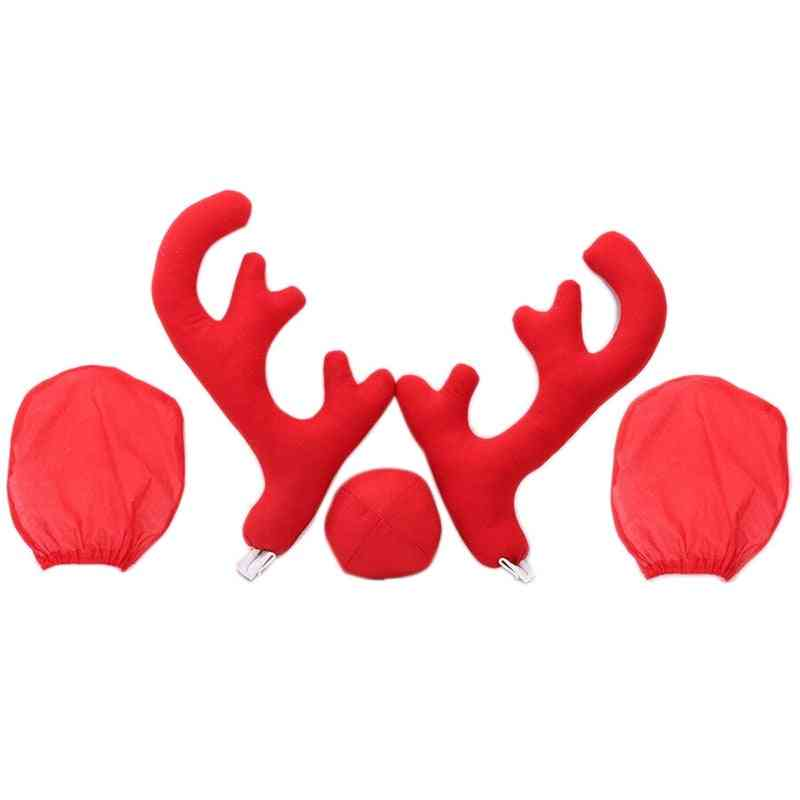 Big Reindeer Antler Nose&rearview Mirror Cover Car Christmas Decoration Kit (red)