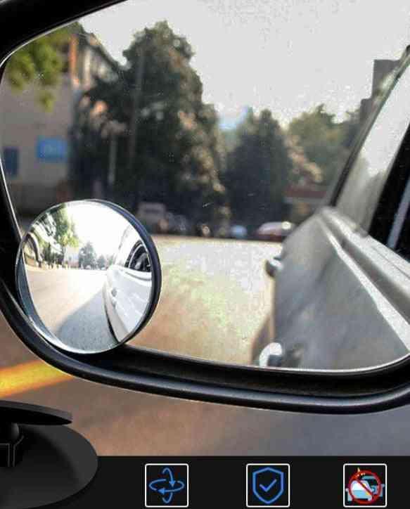 Rotary Push Car Rear View Round Reverse Assist Convex Blind Spot Mirror