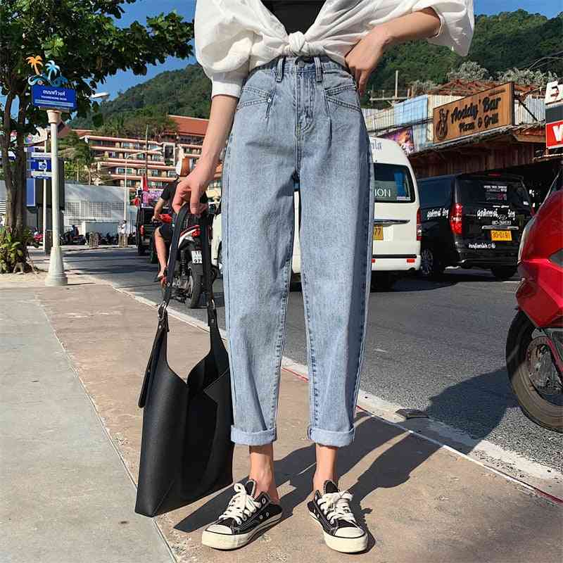 Woman High Waist Plus Size Femme Loose Harem Mom Jeans