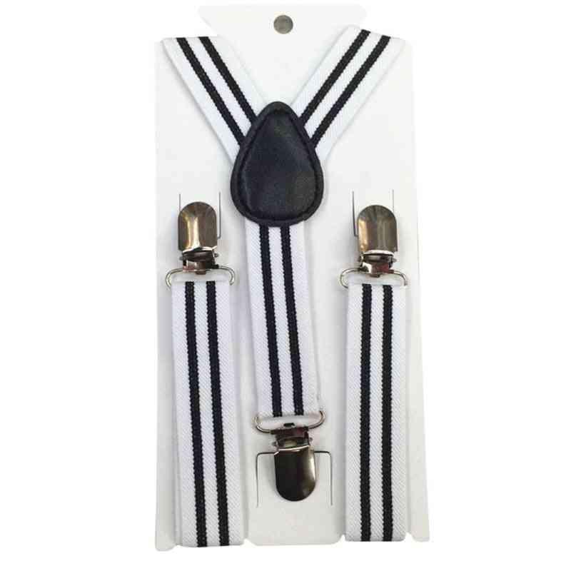 Boys Stripes, Y-back Suspenders, Child Elastic Adjustable Clip-on Braces