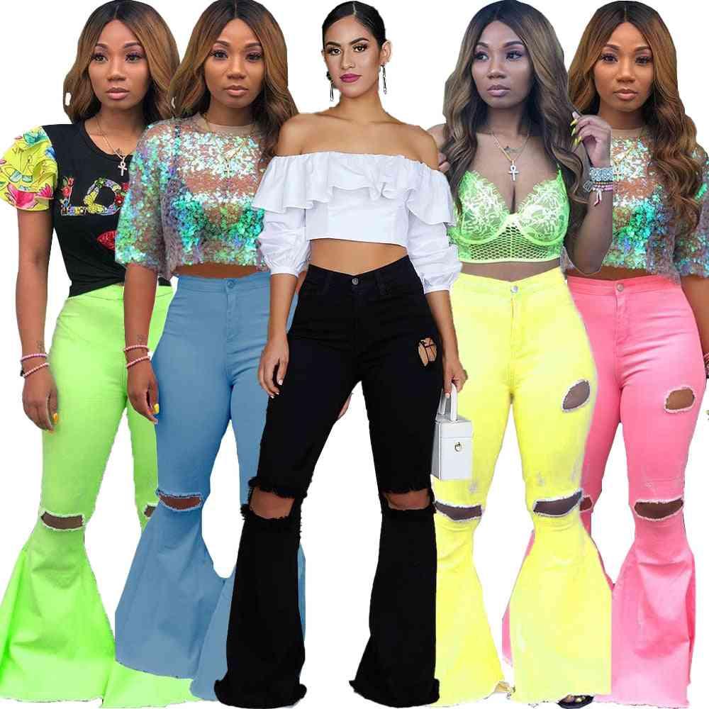 Women Autumn Zipper Fly Mid Waist Denim Flare Long Jeans Fashion Active Wear Trouser